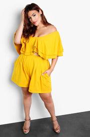 Mustard Pleated Wide Leg Shorts Plus Sizes
