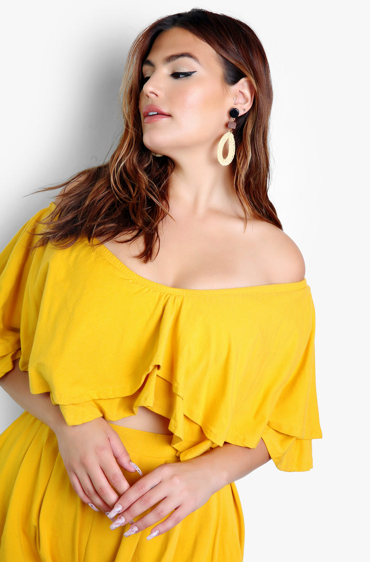 Mustard Over The Shoulder Ruffled Crop Top Plus Sizes