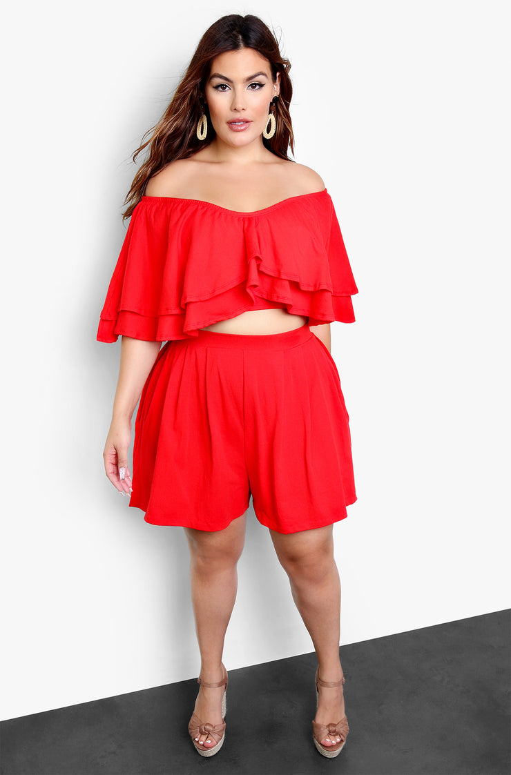 Red Over The Shoulder Ruffled Crop Top Plus Sizes