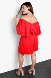 Red Pleated Wide Leg Shorts Plus Sizes