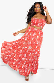 Red Smocked Tiered Maxi Skirt Plus Sizes