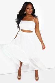 White Smocked Cropped Tank Plus Sizes