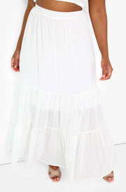 White Smocked Tiered Maxi Skirt Plus Sizes