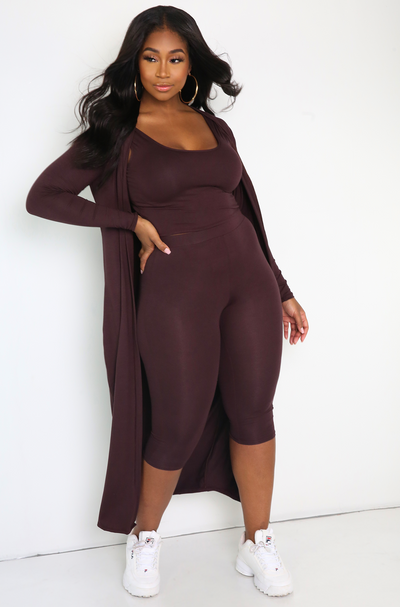 Brown  3-Piece Cropped Legging & Cardigan Set Plus Sizes