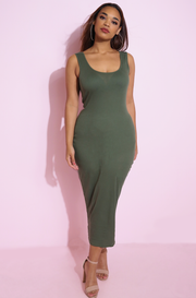 Olive Ribbed Bodycon Maxi Dress Plus sizes