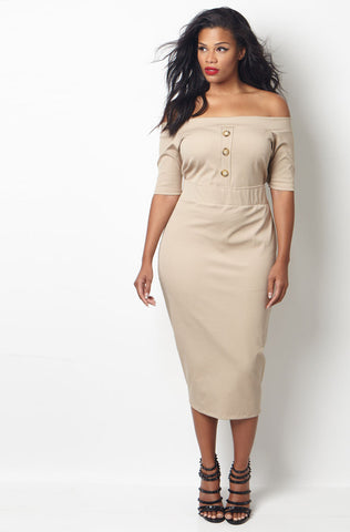"Rebdolls ""Above Standard"" Peplum Midi Dress - Final Sale Clearance"