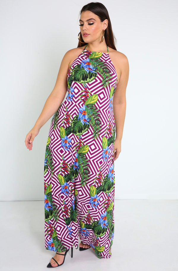 Fuchsia Backless Maxi Dress Plus Sizes