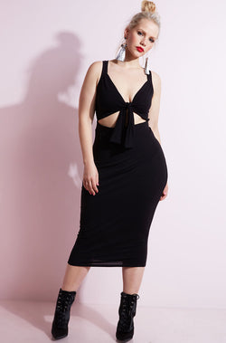 Black Cut - Out Bodycon Midi Dress plus sizes