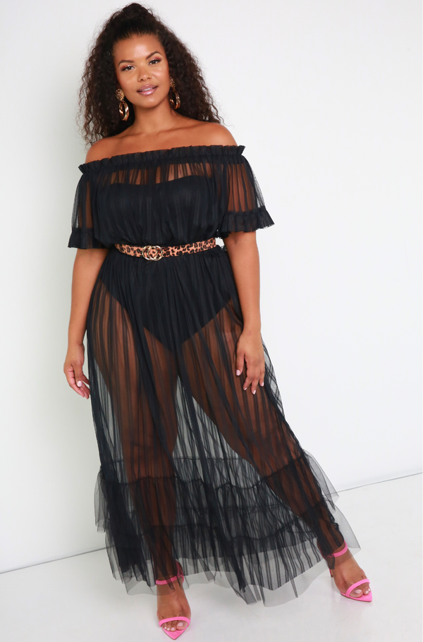 Black Over The Shoulder Sheer Maxi Dress Plus Sizes