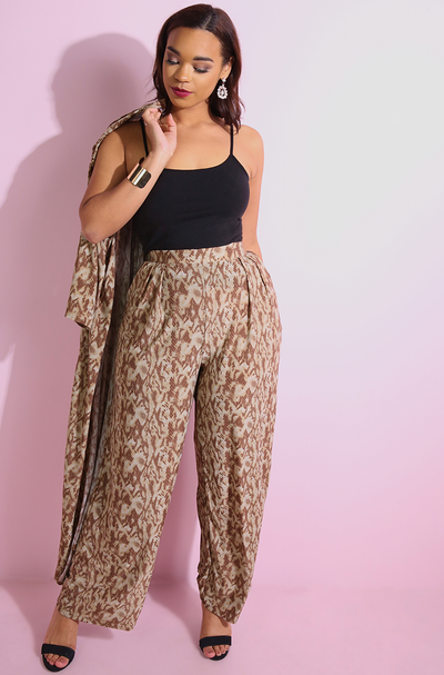 Brown Animal print wide leg pleated pants plus sizes