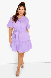 Lilac Ruffle Hem High Neck Mini Dress w. Belt Plus Sizes
