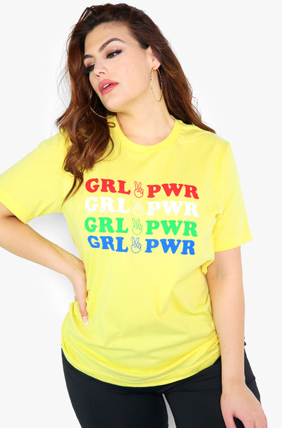 Yellow Graphic Crew Neck Tshirt Plus Size