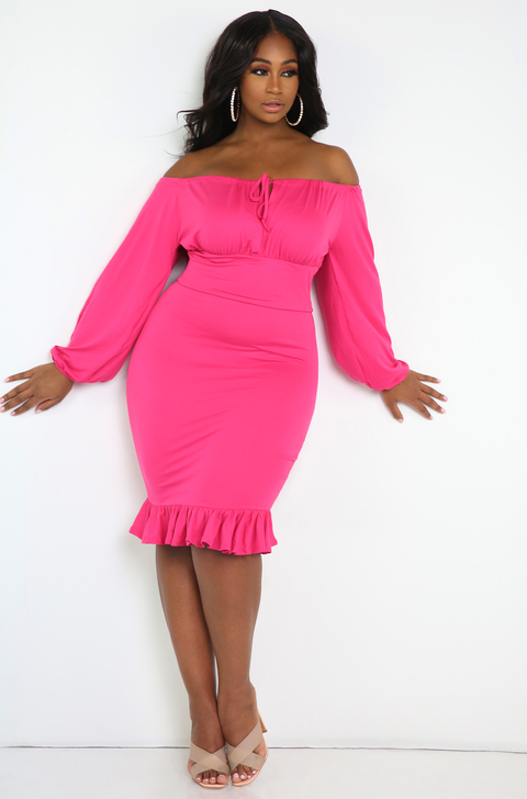 Fuchsia Oversized Sleeve Midi Dress Plus Sizes