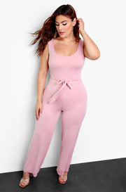Blush Tie Front Tank Jumpsuit Plus Sizes
