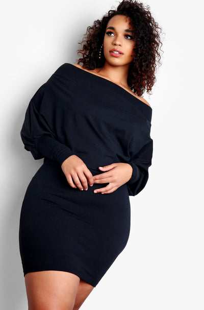 Black Plus Size Over The Shoulder Long Sleeve Bodycon Mini Dress