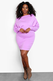 Lilac Over The Shoulder Long Sleeve Bodycon Mini Dress