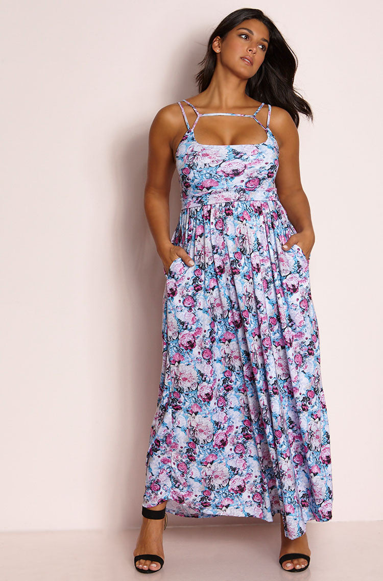 Blue Caged Maxi Skater Dress plus sizes