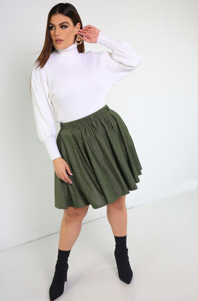 Olive Skater Mini Skirt With Pockets Plus Sizes