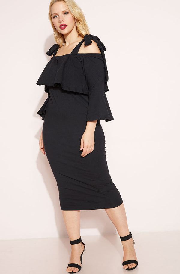 Black Ruffled Midi Dress plus sizes