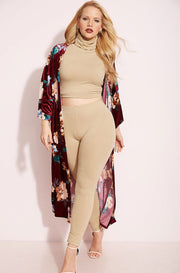 Burgundy Kimono plus sizes