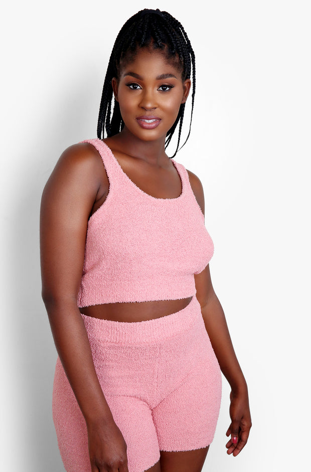 Dusty Pink Terry Cloth High Waisted Shorts Plus Sizes