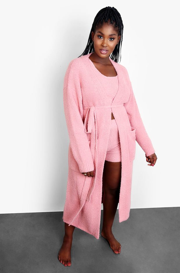 Dusty Pink Terry Cloth Zip Up Robe with Pockets Plus Sizes