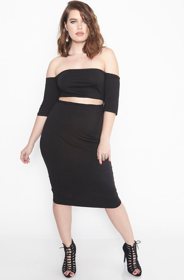 Black Over The Shoulder Cut-Out Bodycon Midi Dress plus sizes