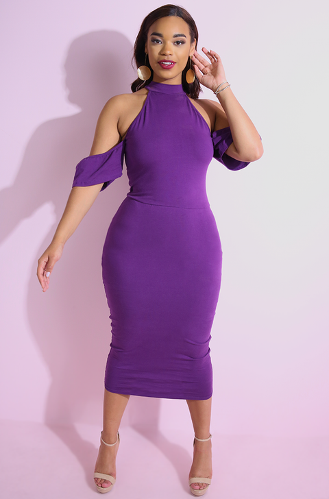 Purple Drop Sleeve Bodycon Midi Dress plus sizes