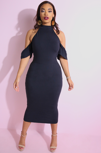 Black Drop Sleeve Bodycon Midi Dress plus sizes