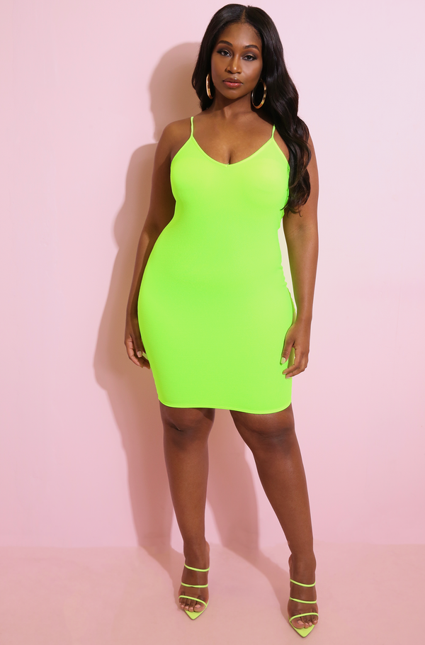 Neon Green Simple V-Neck Strappy Bodycon Mini Dress