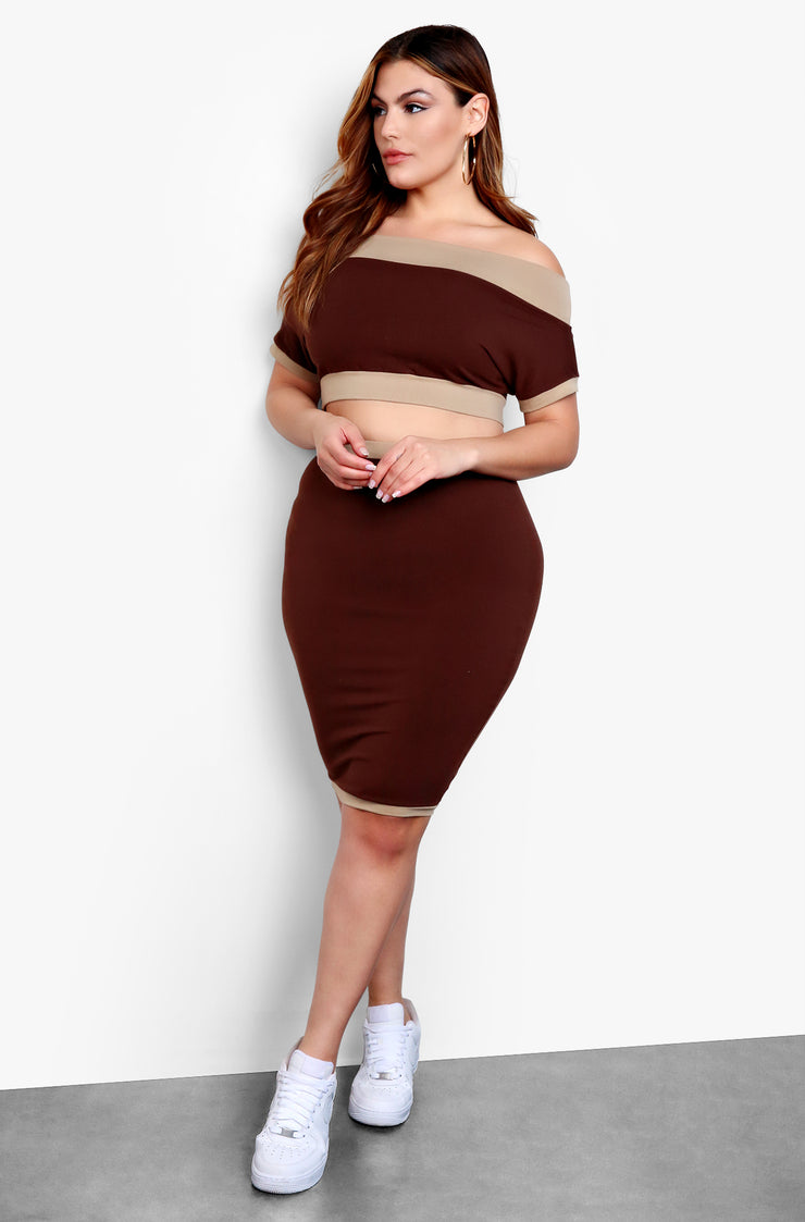 Brown Over The Shoulder Crop Top
