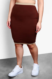Brown Bodycon Mini Skirt