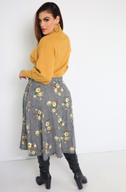 "Rebdolls ""Go East"" Skater Midi Skirt w. Pockets- FINAL SALE"