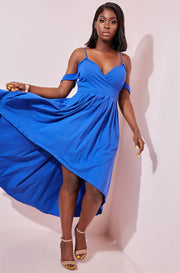 Royal Blue Low Maxi Skater Dress With Pockets plus sizes