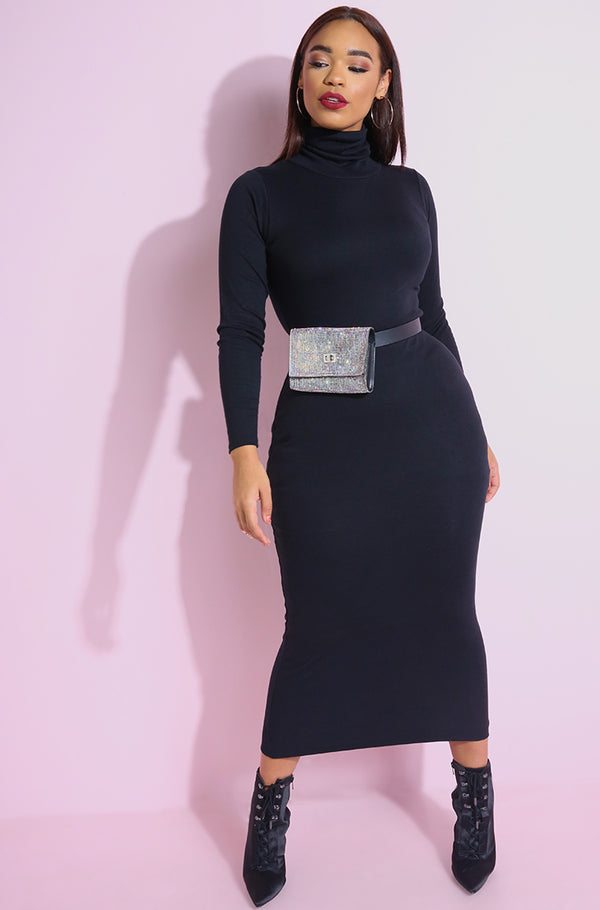 Black Ribbed Turtleneck Bodycon Maxi Dress plus sizes