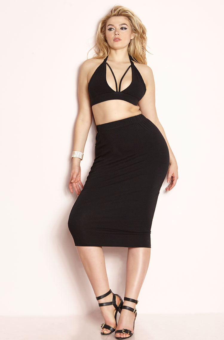 Black Caged Bralette & Bodycon Midi Skirt Set plus sizes