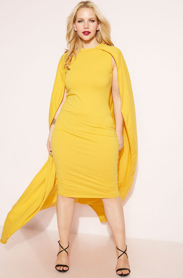 Mustard Caped Bodycon Midi Dress plus sizes