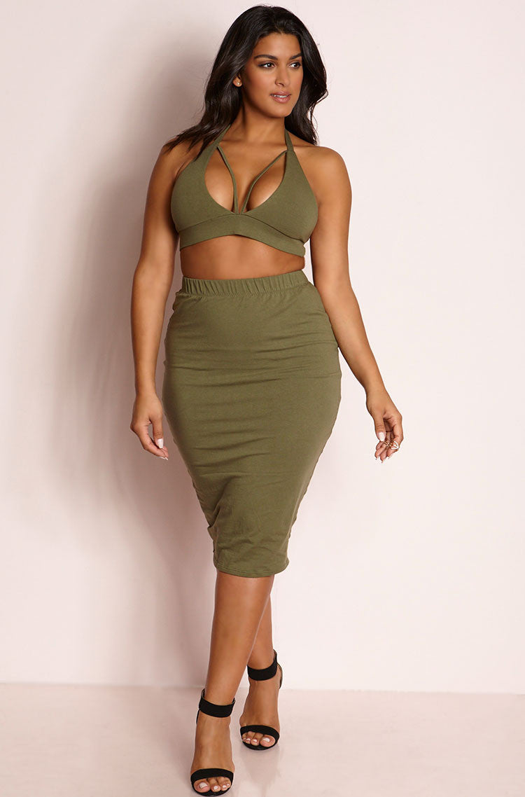 Olive Caged Bralette & Bodycon Midi Skirt Set plus sizes