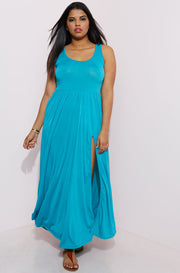 Turquoise High Slit Maxi Dress plus sizes