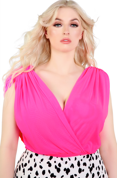 Hot Pink Mesh Draped Crop Top Plus Sizes