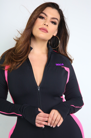 Black Zip Up Jumpsuit with Thumbhole Plus Sizes