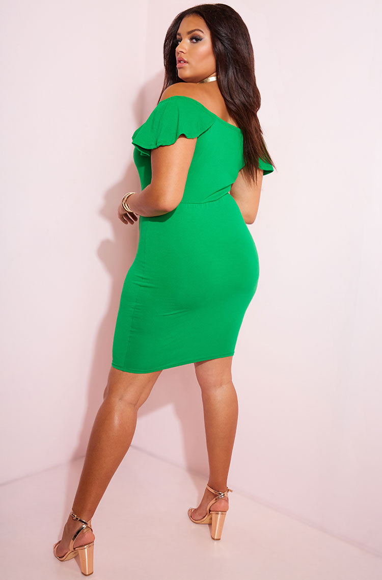 Green Ruffled Bodycon Mini Dress plus sizes