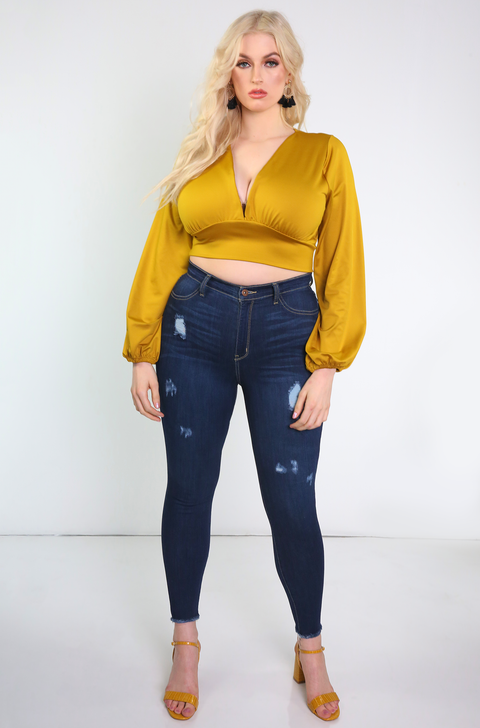 Mustard Oversize Sleeve Crop Top Plus Sizes