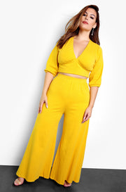 Mustard Peasant Top w. Oversized Sleeves Plus Sizes