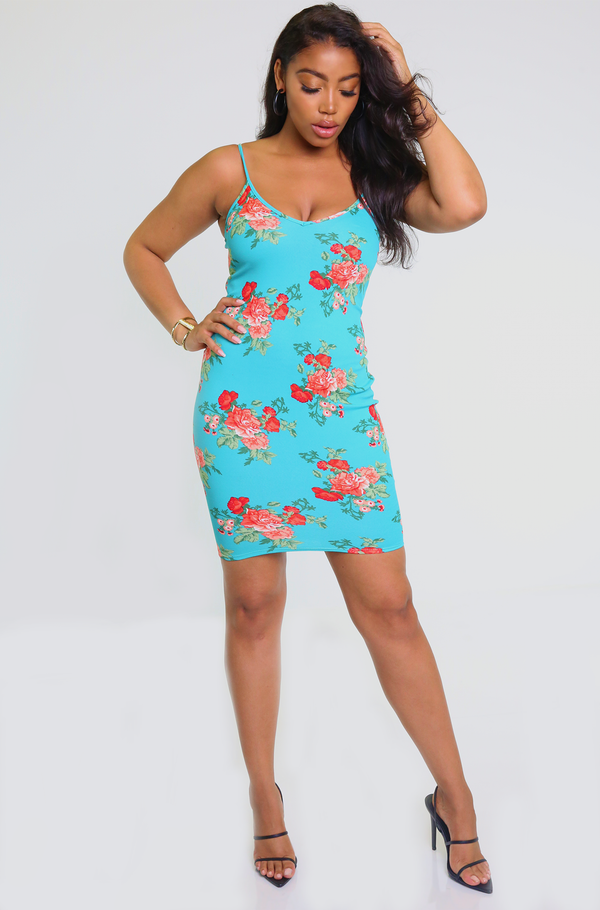 Turquoise Floral Bodycon Mini Dress Plus Sizes