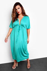Seafoam Green Plunge Kimono Maxi Dress Top Plus Sizes
