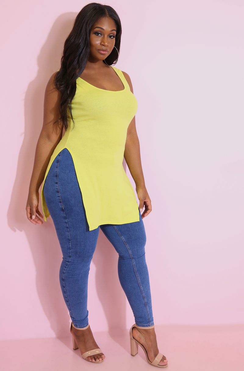 Yellow Double Slit Long Line Tank Top plus sizes