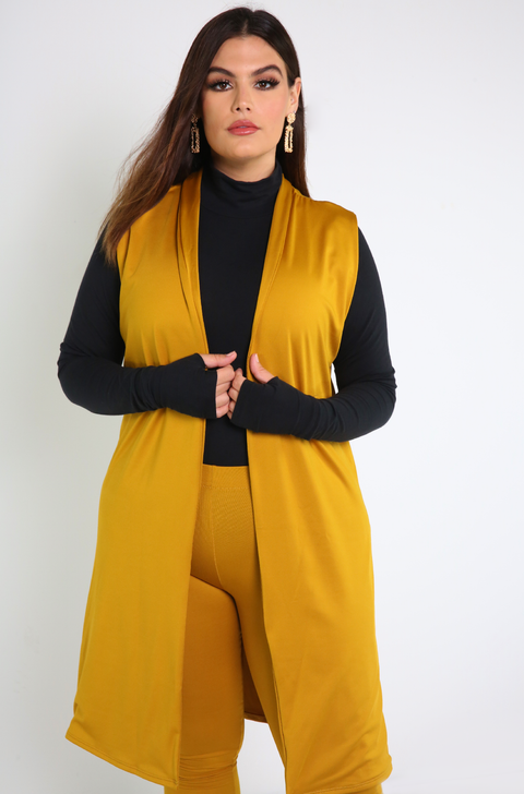 Mustard Sleeveless Duster with matching leggings
