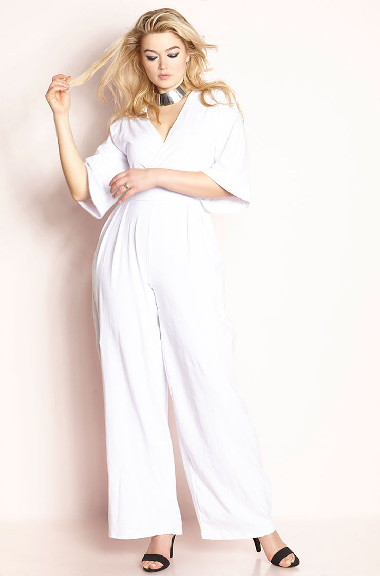 White Pleated Pant Jumpsuit plus sizes