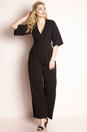 Black Pleated Pant Jumpsuit plus sizes